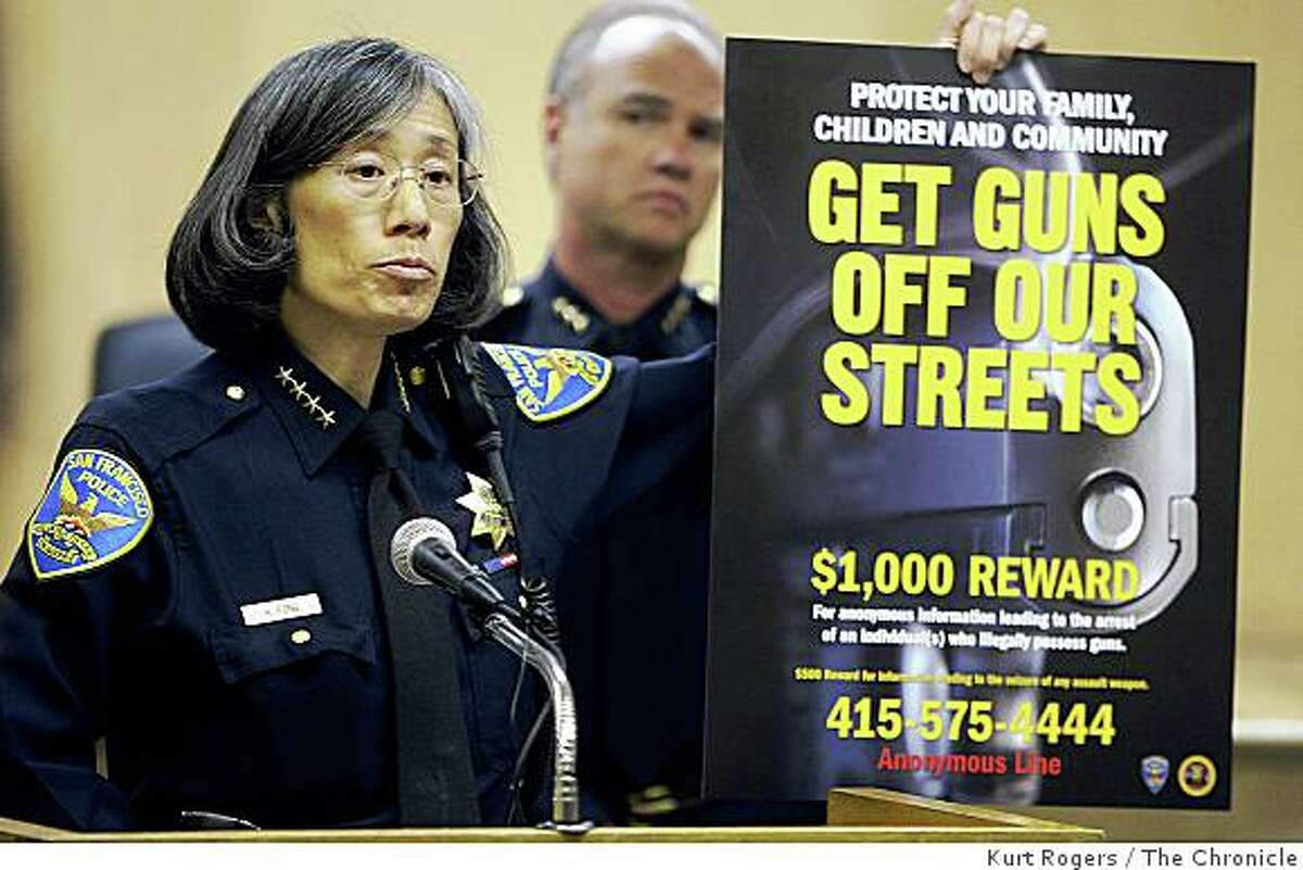 San Francisco Police Chief Heather Fong holds a press conference at police headquarters and unveiled a new poster about illegal hand guns on Friday, Sept. 5, 2008 in San Francisco, Calif.