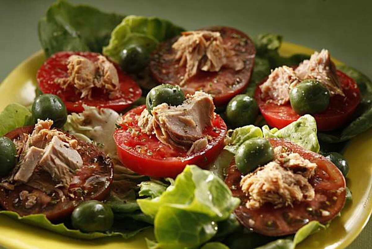 Tuna, tomato and olive salad in San Francisco, Calif., on June 30, 2010. Food styled by Amanda Gold.