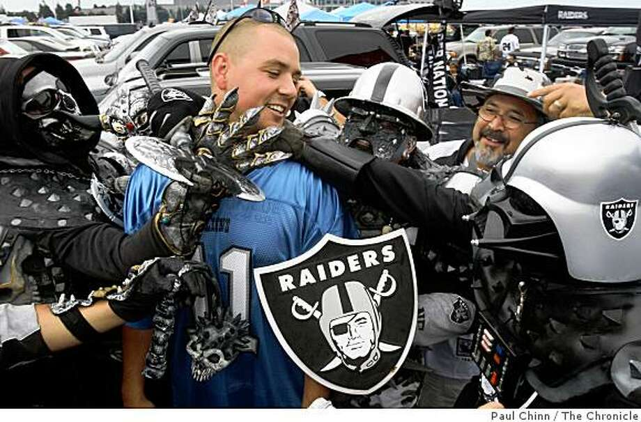 Detroit Lions fan Chad Lance, from Salt Lake City, bravely stepped into a sea of Raiders fans at a pre-game tailgate party. The Oakland Raiders vs. Detroit Lions at McAfee Coliseum in Oakland, Calif. on Sunday, Sept. 9, 2007. Photo: Paul Chinn, The Chronicle