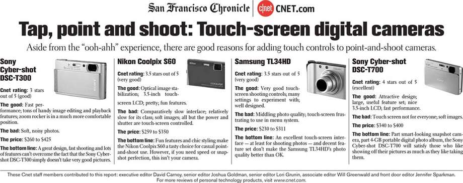 Touch-screen digital cameras (Courtesy of CNET.com)