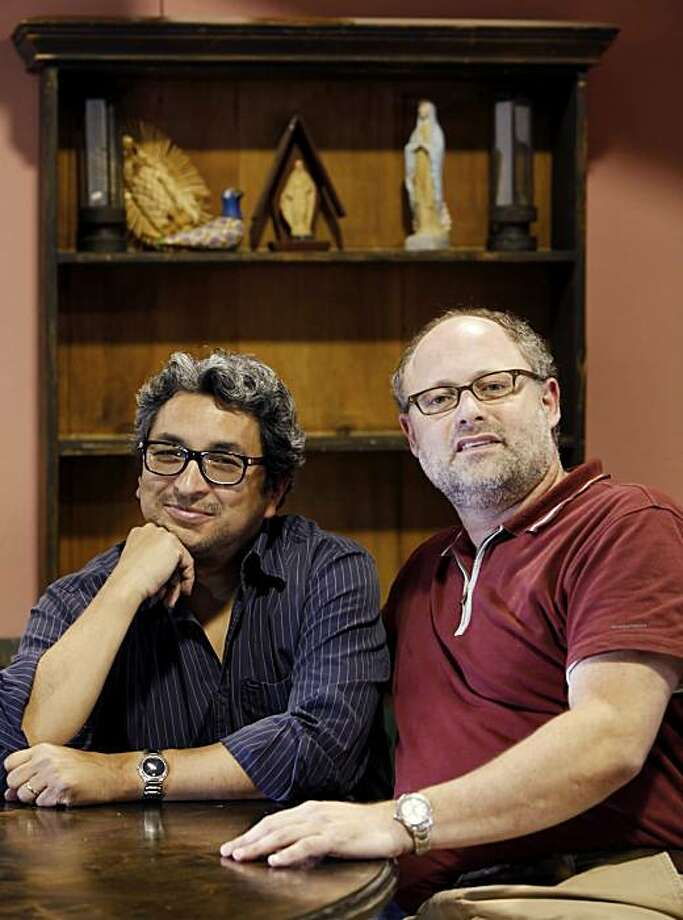 "Cal Shakes artistic director Jonathan Moscone, right,  and playwright Octavio Solis regarding, ""Pastures of Heaven,"" shown here during a break in rehearsal on Tuesday, May 11, 2010, in Berkeley, Calif. Photo: Carlos Avila Gonzalez, The Chronicle"