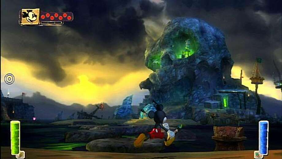"""In this video game image released by Disney Interactive Studios, Mickey Mouse is shown in a scene from """"Skull Island."""" Photo: Disney Interactive Studios"""