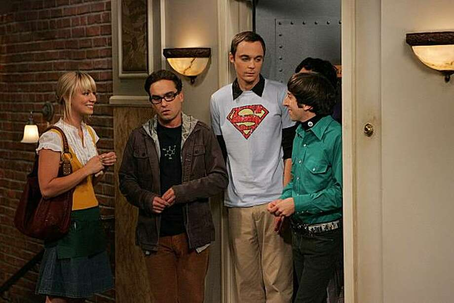 """Actor Johnn Galecki who plays Leonard in CBS' """"The Big Bang Theory"""" wears a caffeine molecule t-shirt from ThinkGeek.com.  """"The Big Bran Hypothesis"""" -- Leonard (Johnny Galecki, left center) volunteers to sign for a package, hoping to make a good impression on Penny. When he enlists the help of his obsessive-compulsive roommate, Sheldon (Jim Parsons, right center), his attempt at chivalry goes horribly awry, on THE BIG BANG THEORY, Mon., October 1(8:30-9:00 ET/PT). also pictured: Kaley Cuoco (left) and Simon Helberg (right) Photo: Robert Voets/CBS ?2007 CBS Broadcasting Inc. All Rights Reserved. Superman t-shirt courtesy DC Comics Photo: Robert Voets, CBS"""
