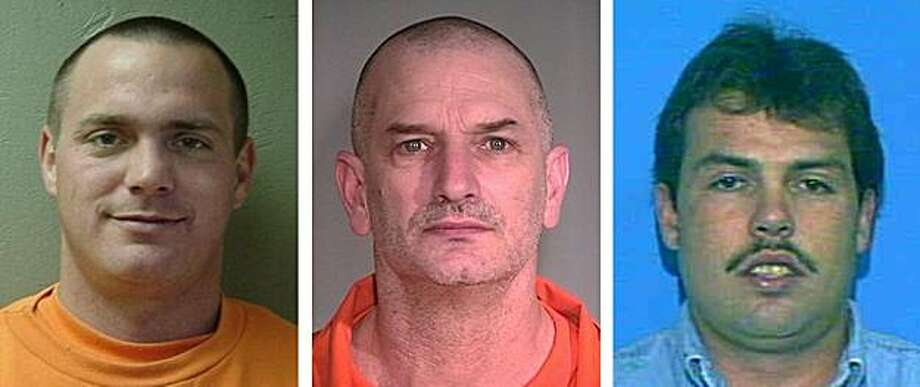 In this combination of undated photos provided by the Mohave County Sheriff's Office, Tracy Province, left, John McClusky, center, Daniel Renwick are shown. The three inmates, all convicted of murder, escaped from a northwest Arizona prison on Friday, July 30, 2010. The men are considered armed and dangerous. Photo: AP