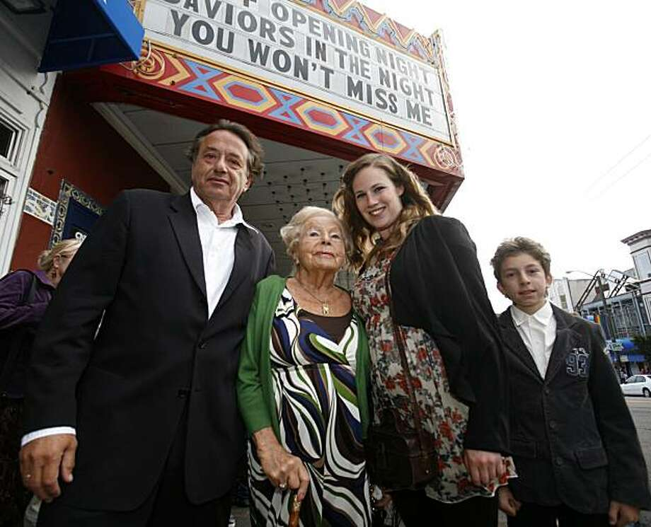 Director Ludi Boeken (left), 98 year-old Marga Spiegel, actress Lia Hoensbroech, and Spiegel's great-grandson Isaac Sattler (right)  pose in front of the Castro Theatre during the San Francisco Film Festival's showing of the film Saviors in the Night- a movie directed by Boken and based on Spiegel's family's experiences in Germany during World War 2 - on Saturday July 24, 2010 in San Francisco, Calif..  Hoensbroech plays Anni Aschoff, a member of the family that saved Marga and her family during World War 2, in the film. Photo: Jasna Hodzic, The Chronicle