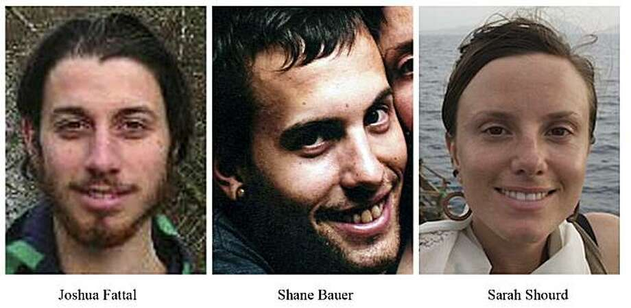 FILE - This combination of undated file photos released by freethehikers.org shows, from left; Joshua Fattal, Shane Bauer, and Sarah Shourd.  The mothers of three Americans jailed for nearly nine months by the Iranian government say Swiss diplomats who visited them report that two of the three are in poor health.  (AP Photo/freethehikers.org, File)  NO SALES Photo: Freethehikers.org, File, AP