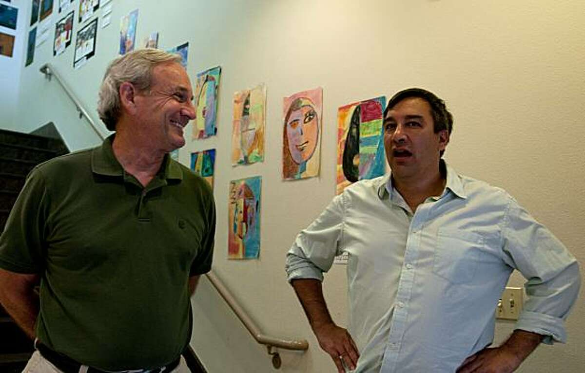 Twitter Chief Scientist Abdur Chowdhury (right) chats with Head of School Ed Walters after taking a walk through their start-up private school, Alta Vista, in San Francisco, Calif., on Friday, July 30, 2010.