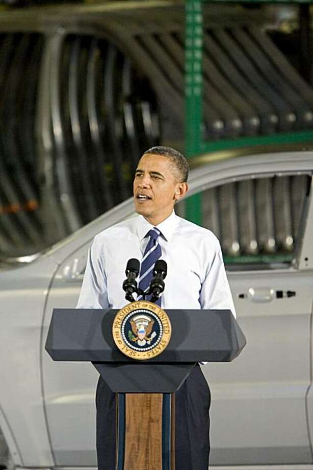 U.S. President Barack Obama speaks at Chrysler Group LLC's Jefferson North Assembly Plant in Detroit, Michigan, U.S., on Friday, July 30, 2010. Obama, in the heart of the U.S. auto industry, told a crowd of workers that the government bailouts of General Motors Co. and Chrysler Group LLC are giving taxpayers a return on their investment. Photographer: Jeffrey Sauger/Bloomberg *** Local Caption *** Barack Obama Photo: Jeffrey Sauger, Bloomberg
