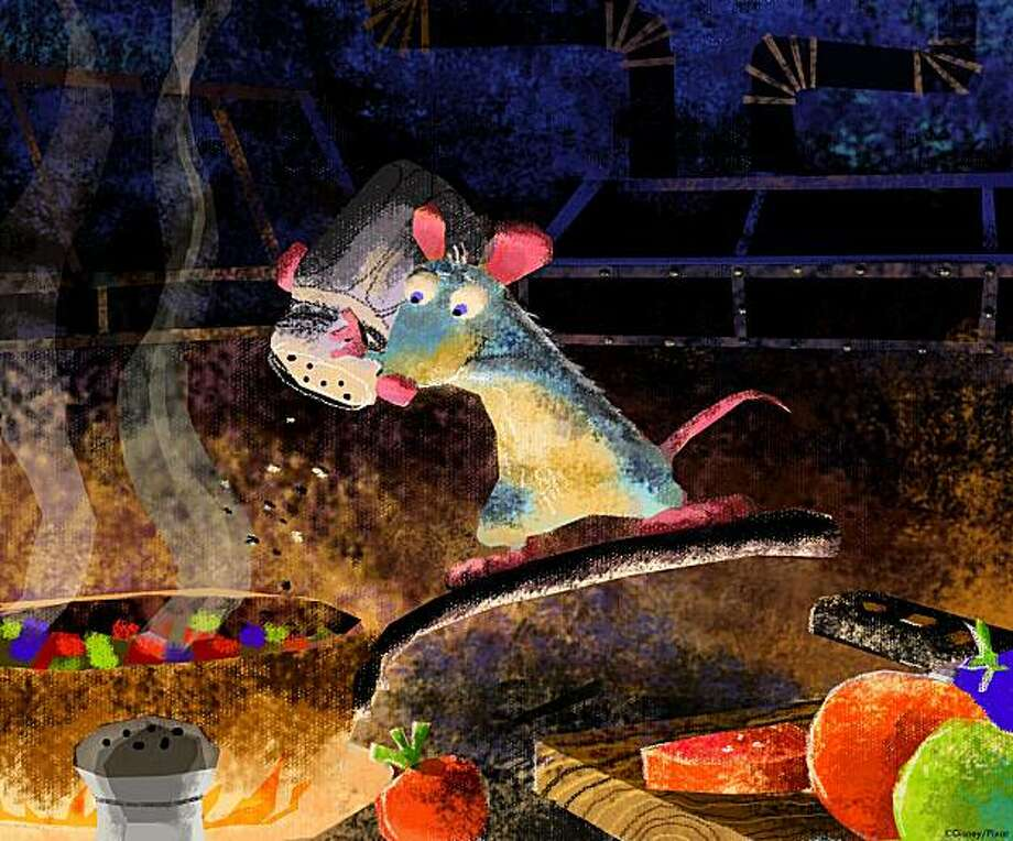 PXR3005/6 Robert Kondo, Remy in the Kitchen, Ratatouille, 2007. Digital painting. ?Disney/Pixar. Photo: ©Disney/Pixar