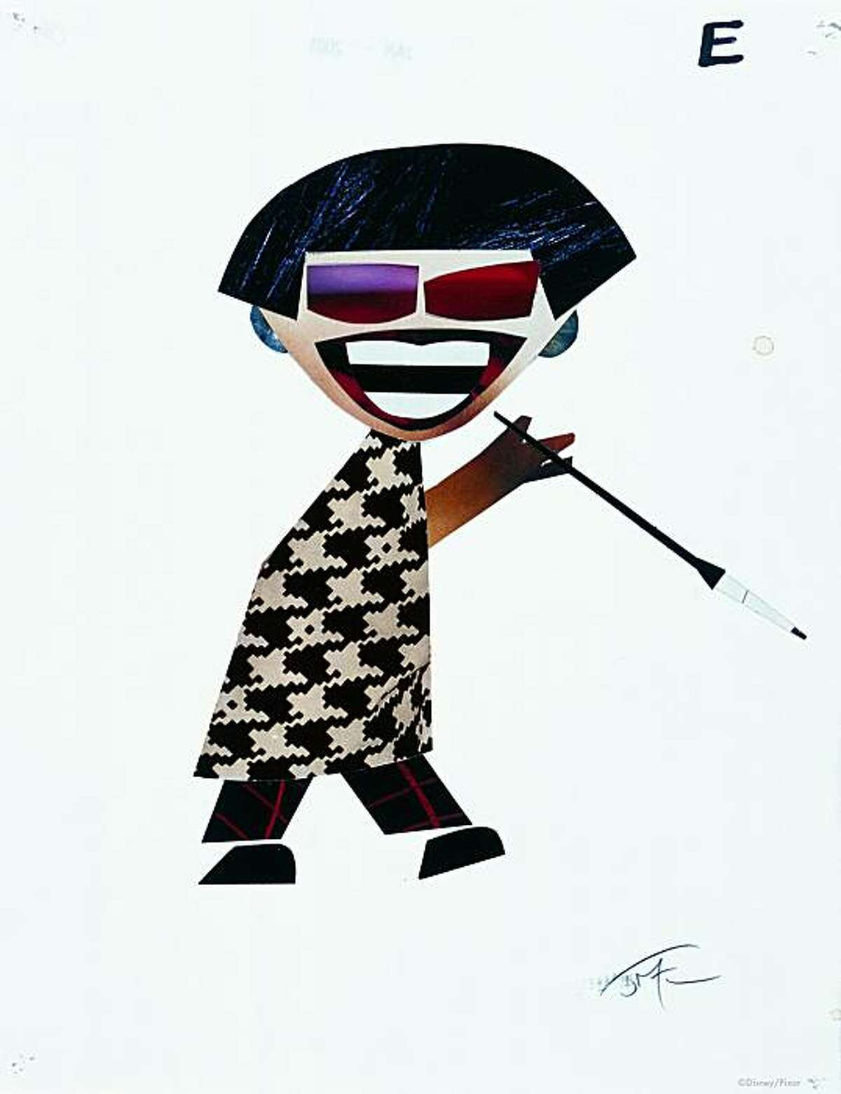 PXR1009 Teddy Newton, Edna Mode (aka ?E?), The Incredibles, 2004. Collage. ?Disney/Pixar.