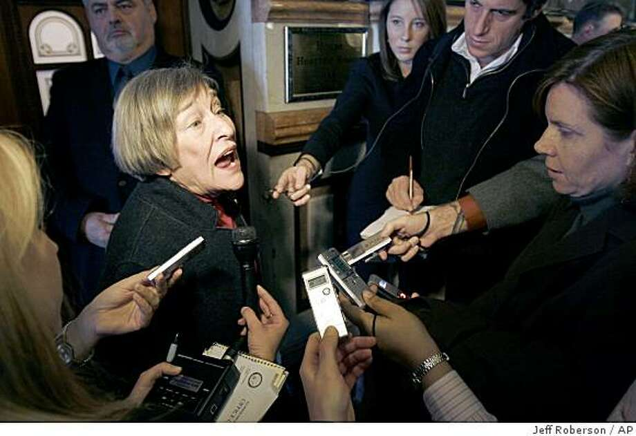 Committee chairwoman Rep. Barbara Flynn Currie, D-Chicago, speaks to the media following a committee hearing looking into the impeachment of Illinois Gov. Rod Blagojevich Tuesday, Dec. 16, 2008, in Springfield, Ill. (AP Photo/Jeff Roberson) Photo: Jeff Roberson, AP