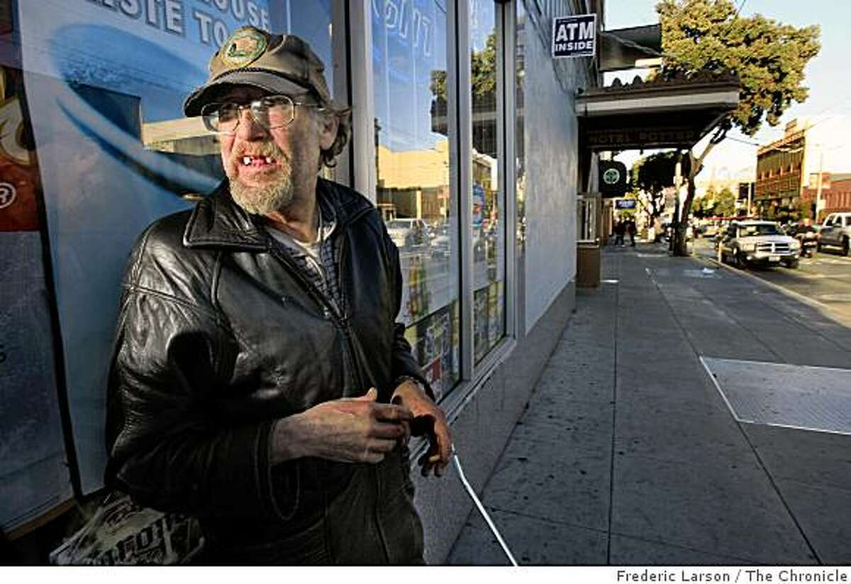 Melvin Randal Osborn stands at the corner of Ninth and Mission Street in San Francisco, Calif., on December 19, 2008. The homeless man has been in San Francisco for the past two weeks and is originally from Lake Tahoe.