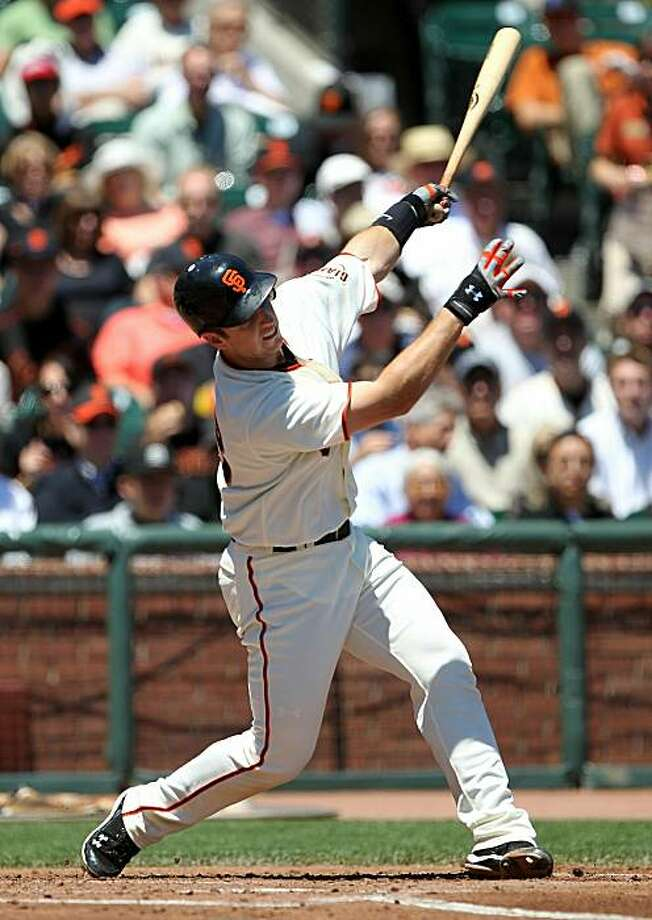 SAN FRANCISCO - JULY 29:  Buster Posey #28 of the San Francisco Giants strikes out in the second inning against the Florida Marlins during an MLB game at AT&T Park on July 29, 2010 in San Francisco, California. Photo: Jed Jacobsohn, Getty Images