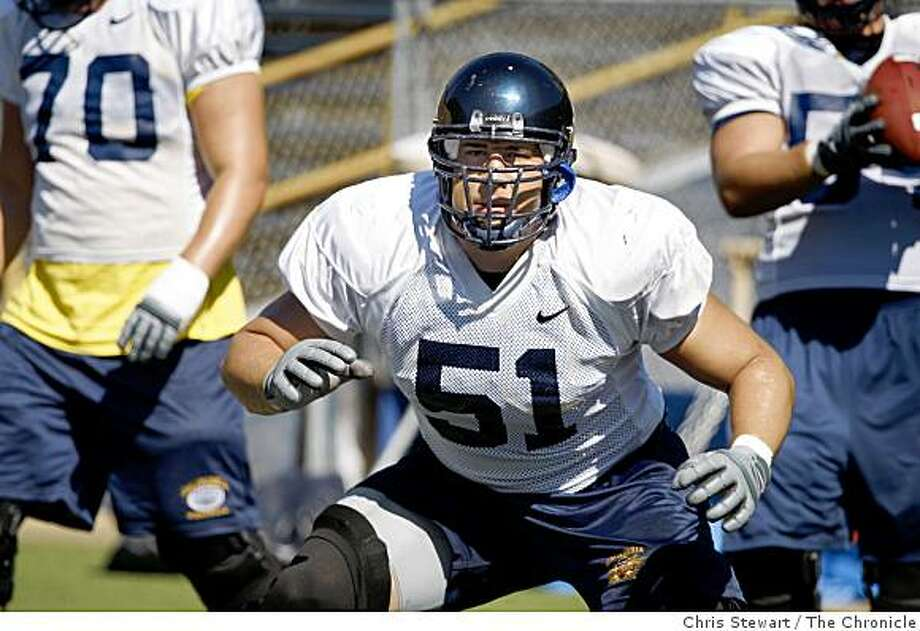 CAL_FOOTBALL_0151_cs.jpg Event on 8/9/07 in BerkeleyOutside linebacker Alex Mack (cq) drills during a Cal Berkeley football team practice at Memorial Stadium. Photographed August 9, 2007Chris Stewart / The ChronicleCal Berkeley football, Alex MackRan on: 09-05-2007Offensive lineman Alex Mack took out five Tennessee players on two plays as part of his Saturday night work shift. CAL_FOOTBALL_0151_cs.jpg Event on 8/9/07 in Berkeley Outside linebacker Alex Mack (cq) drills during a Cal Berkeley football team practice at Memorial Stadium. Photographed August 9, 2007 Photo: Chris Stewart, The Chronicle