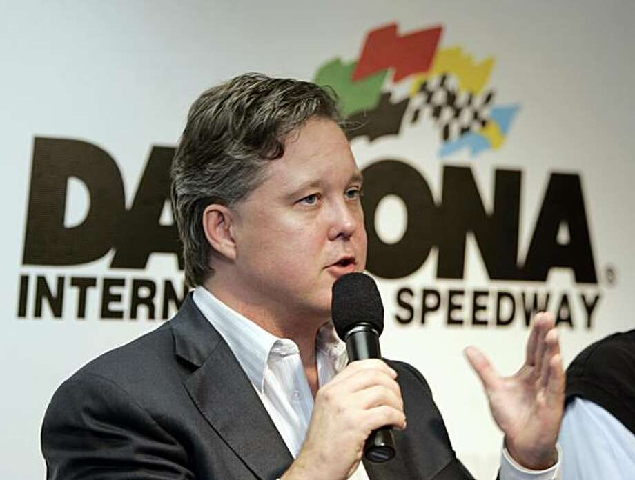 FILE - In this June 29, 2006 photo, NASCAR chairman Brian France gestures during a news conference  at the Daytona International Speedway in Daytona Beach, Fla.   NASCAR fans are reluctant to change. NASCAR chairman Brian France will have to keep that inmind when he decides on altering the championship format for a third time in six years. Photo: Alan Diaz, AP