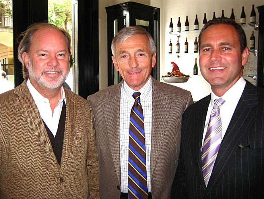 Designer Stephen Brady (left) with restauranteur Perry Butler and Bacchus Management founder Tim Stannard at the Cafe des Amis opening. July 2010. By Catherine Bigelow. Photo: Catherine Bigelow, Special To The Chronicle