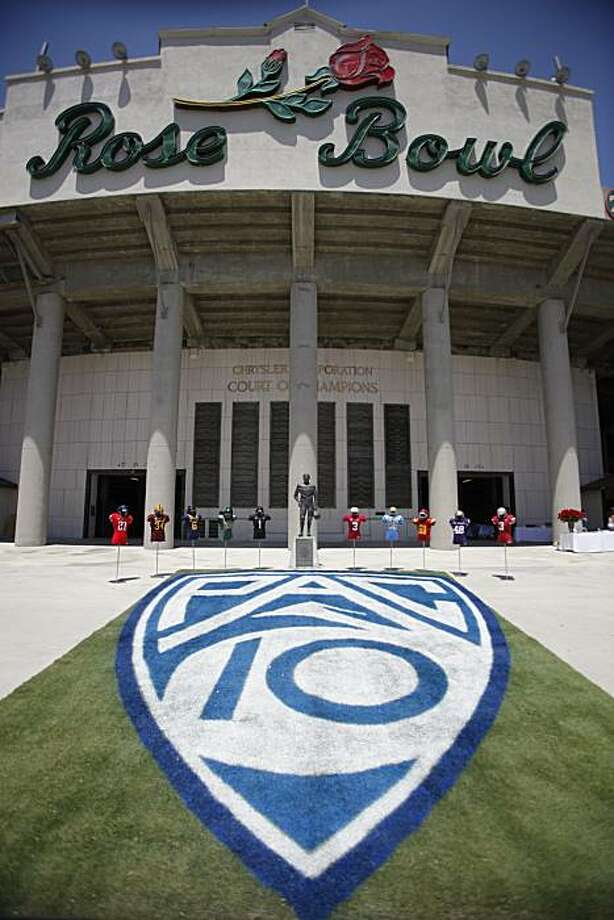 The new Pac-10 Conference logo is displayed outside the Rose Bowl in Pasadena, Calif, on Thursday, July 29, 2010. Photo: Damian Dovarganes, AP
