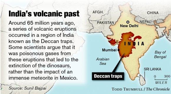 Image result for MASSIVE DECCAN TRAP ERUPTIONS 65 MILLION YEARS AGO