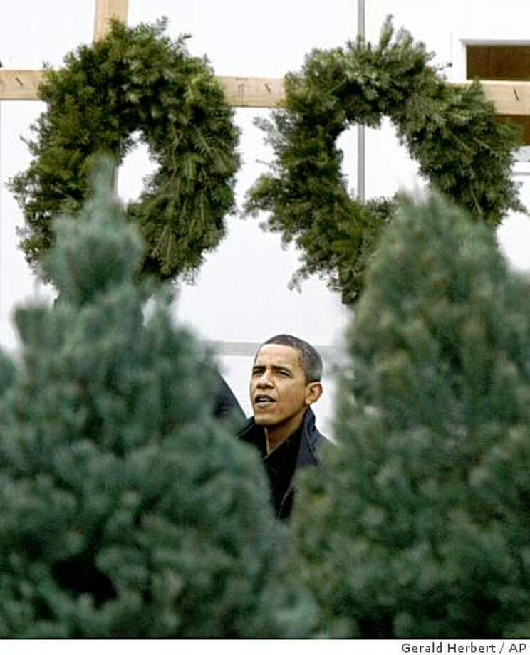 ** RETRANSMISSION FOR ALTERNATE CROP ** President-elect Barack Obama shops for a Christmas tree with his children, not pictured, in Chicago, Sunday, Dec. 14, 2008.   (AP Photo/Gerald Herbert) Photo: Gerald Herbert, AP