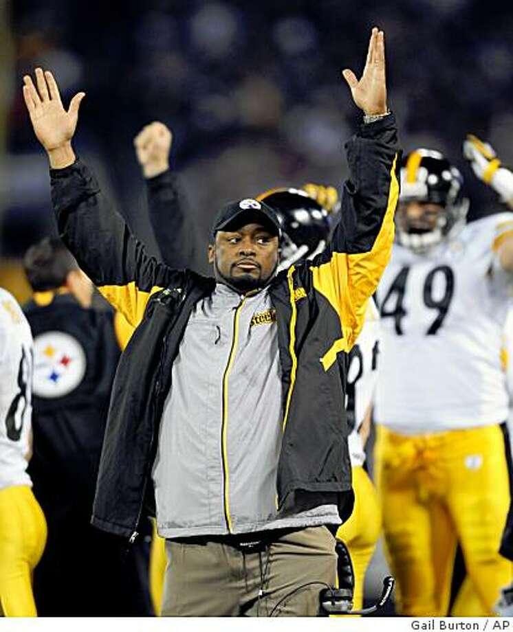 Pittsburgh Steelers coach Mike Tomlin celebrates the Steelers' fourth-quarter touchdown against the Baltimore Ravens in an NFL football game Sunday, Dec. 14, 2008, in Baltimore. The Steelers won 13-9. (AP Photo/Gail Burton) Photo: Gail Burton, AP