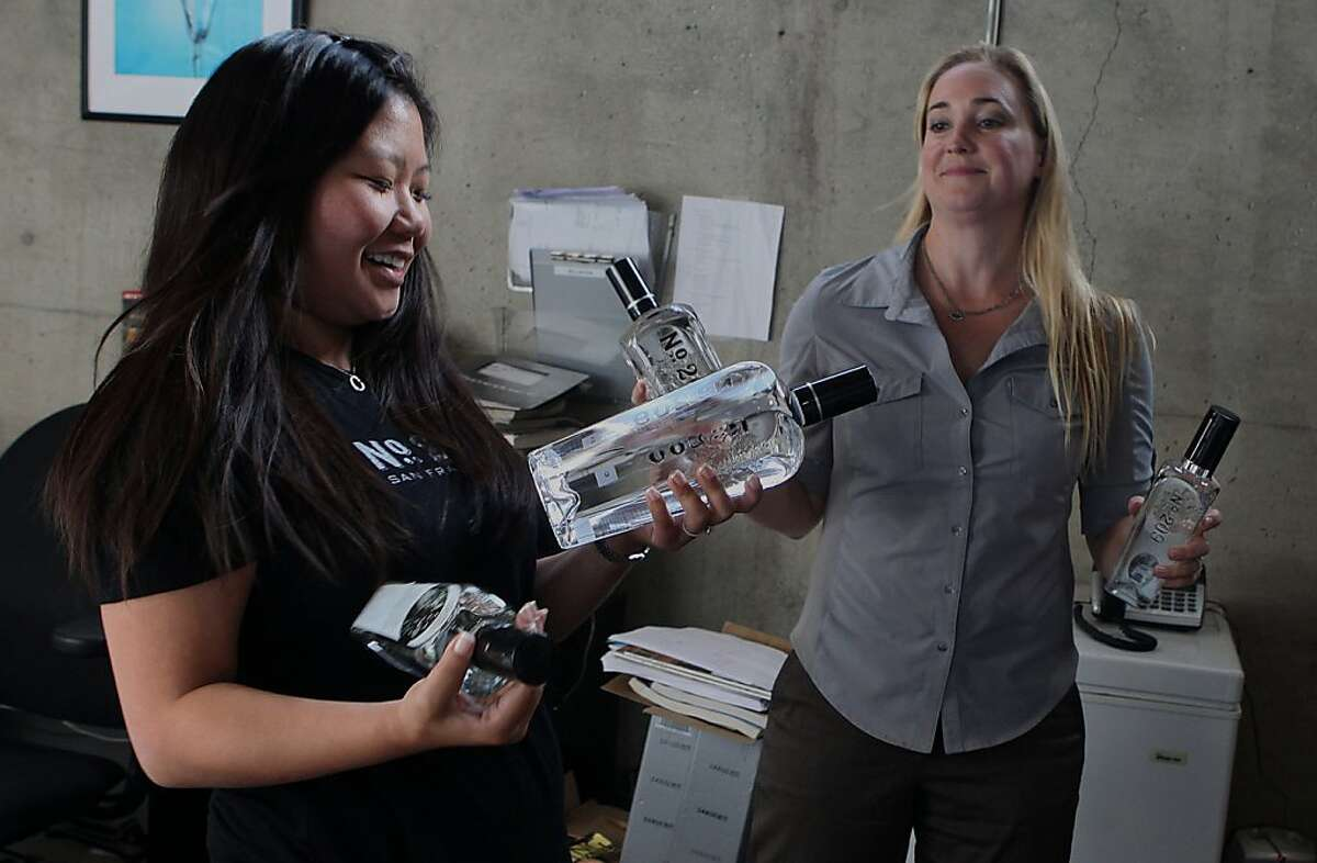 Chief marketing officer Kathryn Frederick (left) and chief executive officer Nicole Nollette (right) talks about their gin in San Francisco, Calif., on Wednesday, October 19, 2011.
