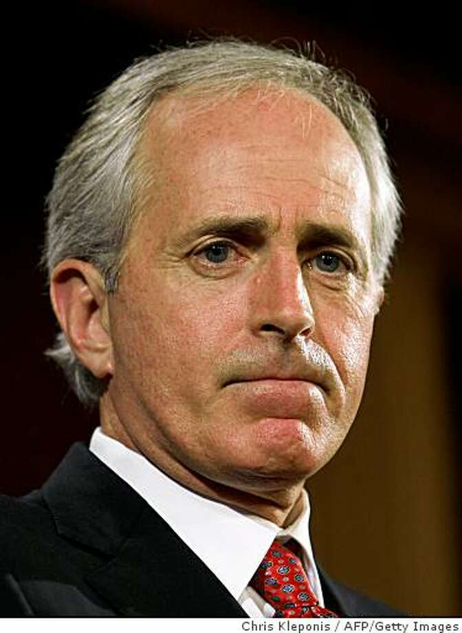 Senator Bob Corker (R-Tennessee) speaks on December 12, 2008 on Capitol Hill in Washington, DC about the rejection late December 11 by the US Senate of the 14-billion-USD bailout plan for the country's automakers. President George Bush's Republican Senate allies said the bill failed because of a dispute with US autoworkers unions on the timing of bringing their wages in line with those paid by foreign automakers to non-unionized workers in US states. The House of Representatives had approved the White House-backed bill on December 10, crafted by Democrats, to rescue the ailing automakers. The measure would have required the manufacturing giants to engage in restructuring to ensure their long-term survival and repayment of the government monies or face bankruptcy proceedings.AFP PHOTO / Chris Kleponis (Photo credit should read CHRIS KLEPONIS/AFP/Getty Images) Photo: Chris Kleponis, AFP/Getty Images