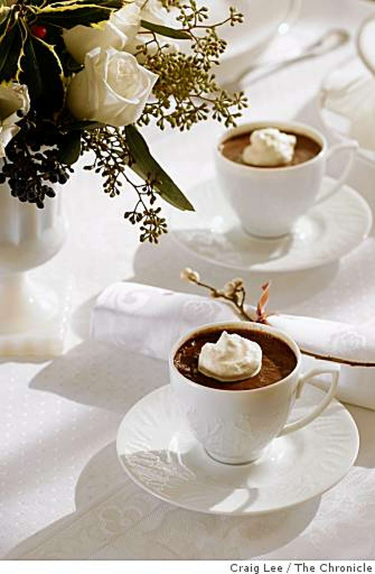 Mocha Pots de Creme for a holiday dinner in San Francisco, Calif., on December 10, 2008. Food styled by Ethel Brennan.