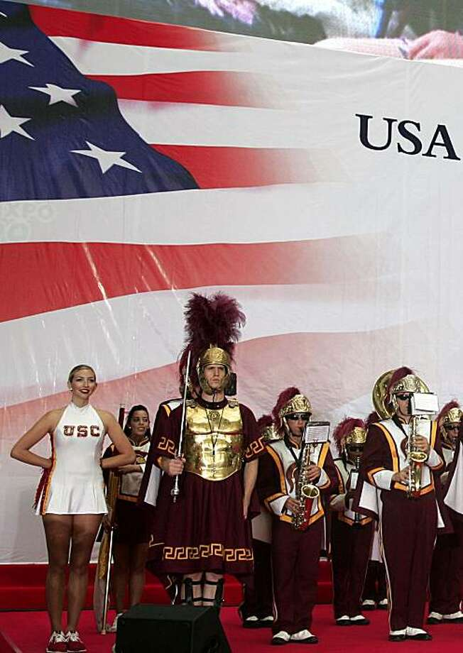 An American band performs during a protocol ceremony for the U.S.A National Day at the World Expo in Shanghai, China, Friday, July 2, 2010. Photo: AP