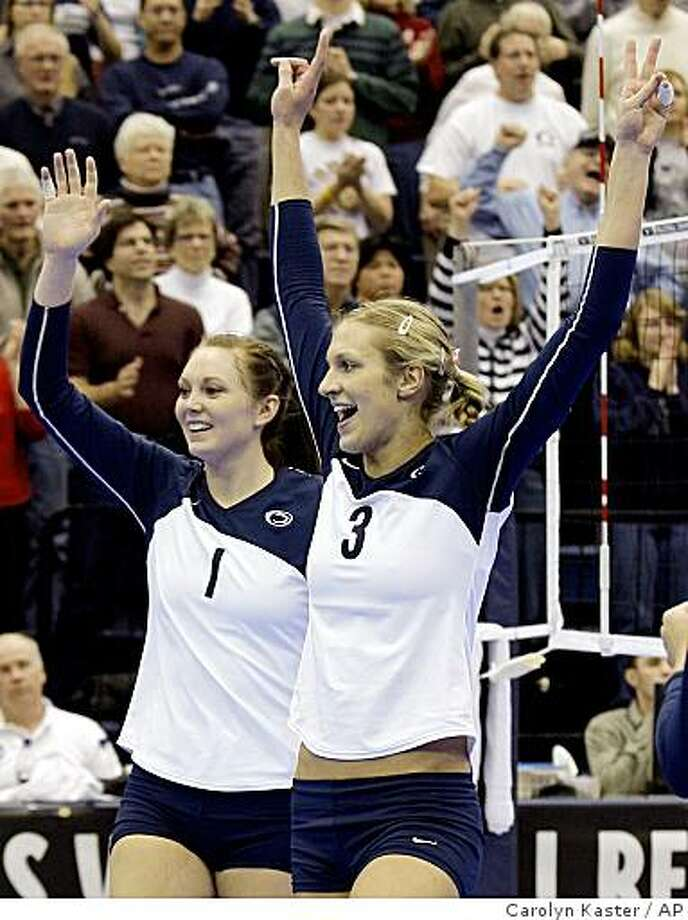 Penn State's Christa Harmotto (3) and Nicole Fawcett (1) celebrate the final point of their three-game sweep to win over Western Michigan in their NCAA volleyball match at Penn State in State College, Pa., Friday, Dec. 12, 2008. The unbeaten Nittany Lions (35-0) are on an unprecedented run of success as they seek a second-consecutive national title.  (AP Photo/Carolyn Kaster) Photo: Carolyn Kaster, AP