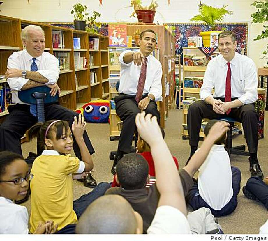 "CHICAGO - DECEMBER 16:  President-elect Barack Obama (C), newly nominated Secretary of Education, former head of the Chicago school system Arne Duncan (R) and Vice President-elect Joe Biden speak to elementary school children December 16, 2008 at Dodge Renaissance Academy in Chicago, Illinois. Obama called Duncan, a former professional basketball player in Australia, ""...the most hands-on of hands-on practitioners..."" of school reform.  (Photo by Ralf-Finn Hestoft-Pool/Getty Images) Photo: Pool, Getty Images"
