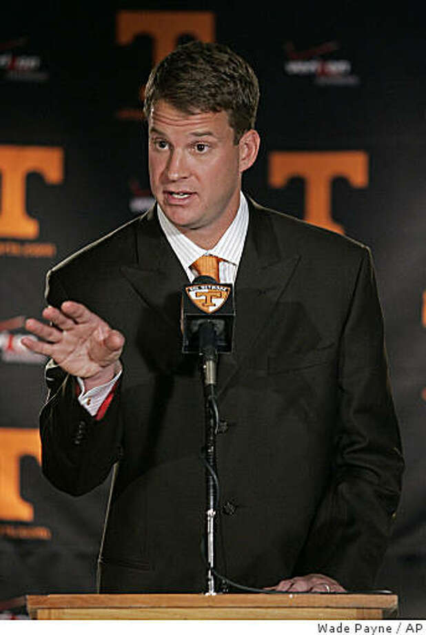 Lane Kiffin speaks at a press conference Monday, Dec. 1, 2008 in Knoxville, Tenn. Kiffin, 33, replaces Phillip Fulmer, who was forced out after 17 seasons as Vols coach. Kiffin was the youngest coach in the NFL's modern history when hired to lead the Raiders in January 2007 at age 31 after spending two seasons as Southern California's recruiting and offensive coordinator. (AP Photo/Wade Payne) Photo: Wade Payne, AP