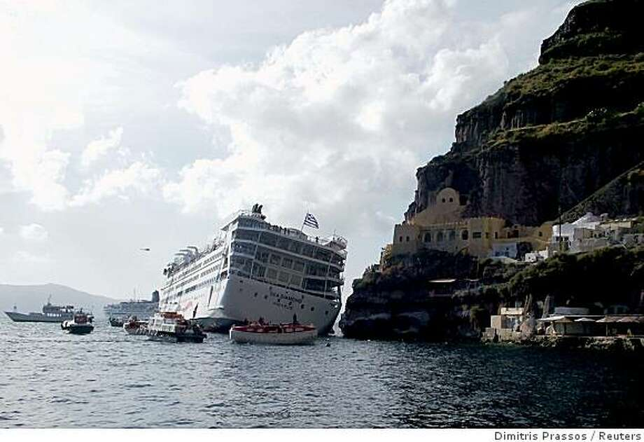 Tthe biggest cruise ship catastrophe in recent memory happened in last April 2007, when 1,200 passengers and a crew of 400 had to be evacuated from the Sea Diamond after the liner apparently hit a rock near the Greek island of Santorini ? and eventually sank. Photo: Dimitris Prassos, Reuters