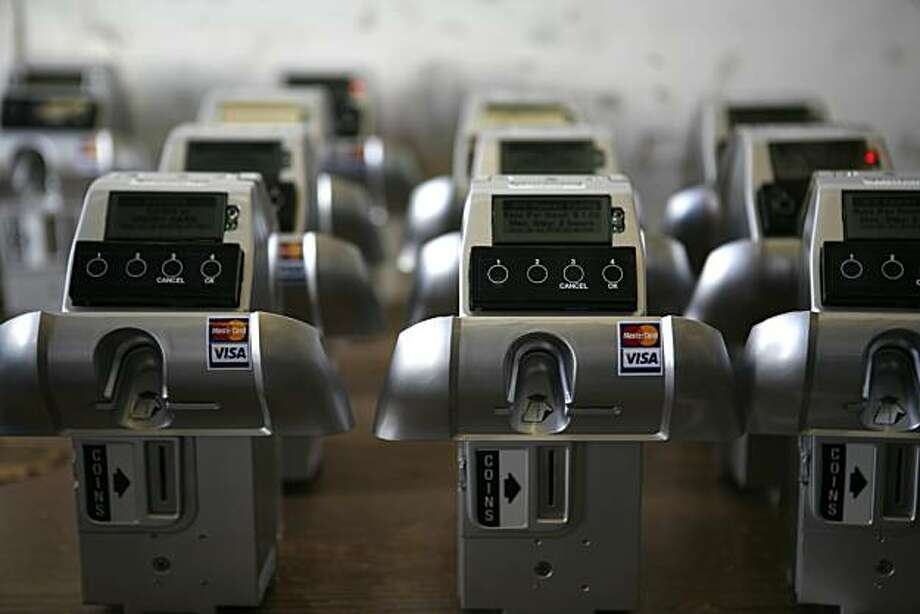 New parking meter devices are seen in a warehouse in San Francisco, Calif. on Monday July 26, 2010. The city of San Francisco will install the new meters in Hayes Valley on Tuesday July 27, 2010. Photo: Jasna Hodzic, The Chronicle