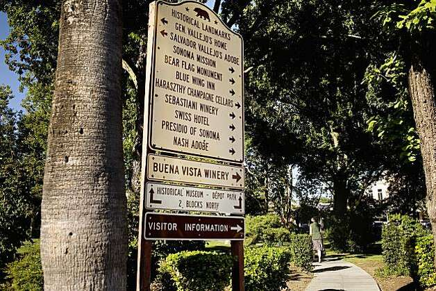 A directory that points to Sonoma's historical landmarks around the plaza. Photo: Lianne Milton, Special To The Chronicle