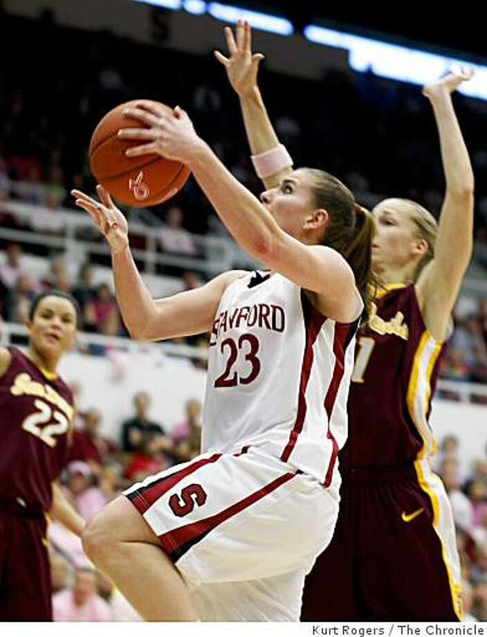 Stanford's Jeanette Pohlen for two in the first period.Stanford  vs Arizona State. at Maples pavilion on  the Stanford Campus.Photo By Kurt Rogers / The Chronicle Photo: Kurt Rogers, The Chronicle