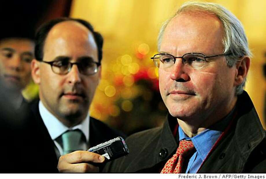 Christopher Hill (R), US Assistant Secretary of State and top envoy to to six-party nuclear talks over North Korea's nuclear program, speaks to the media in Beijing on December 10, 2008. Delegates from six nations are set to resume talks for the third day looking at a Chinese proposal on how to verify the secretive North Korean regime's claims about its atomic programme. First launched in 2003, the six-party talks involve North and South Korea, China, Japan, Russia and the US. AFP PHOTO/Frederic J. BROWN (Photo credit should read FREDERIC J. BROWN/AFP/Getty Images) Photo: Frederic J. Brown, AFP/Getty Images