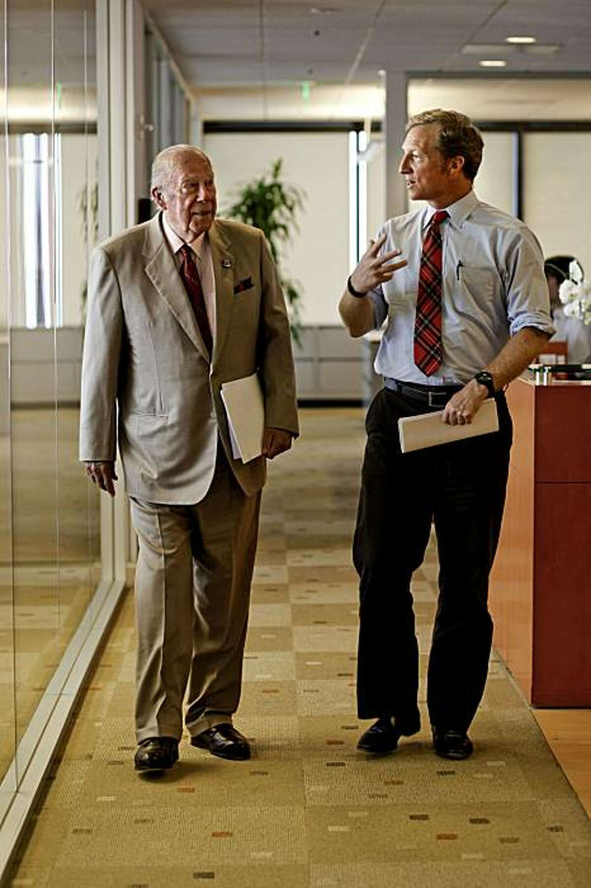Former Secretary of State George Schultz, (left) and venture capitalist Tom Steyer in San Francisco, Ca. on Tuesday July 20, 2010, have teamed up to defeat an attempt to repeal California's AB32, the climate change bill in this coming November's election.