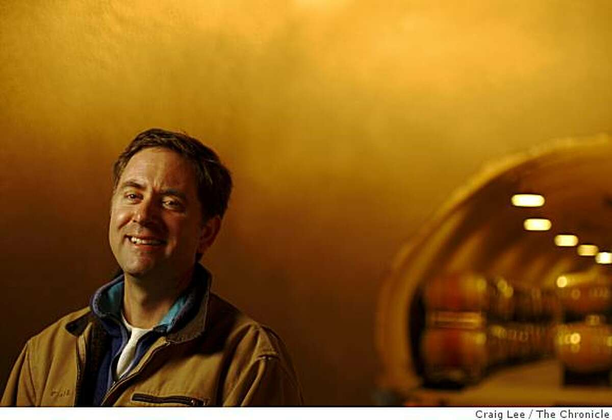 Winemaker, Ehren Jordan, in his new wine cave at his Failla winery in St. Helena, Calif., on December 4, 2008.