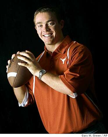 Texas quarterback Colt McCoy  is photographed at Disney's Boardwalk Resort in Lake Buena Vista, Fla., on  Wednesday, Dec. 10, 2008.  McCoy is up against Florida's Tim Tebow and Oklahoma's Sam Bradford as Heisman finalists announced Wednesday. (AP Photo/Orlando Sentinel, Gary W. Green)   ** OUT LEESBURG OUT, LADY LAKE OUT, DAYTONA BEACH NEWS JOURNAL OUT, TV OUT, MAGS OUT, NO SALES ** Photo: Gary W. Green, AP