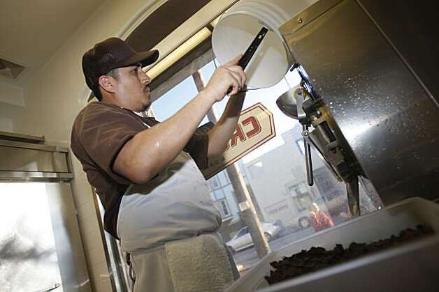 Esquiel Cantor, ice cream maker, makes ice cream at the Bi-Rite Creamery in San Francisco, Calif. on Monday November 23, 2009. Photo: Lea Suzuki, The Chronicle