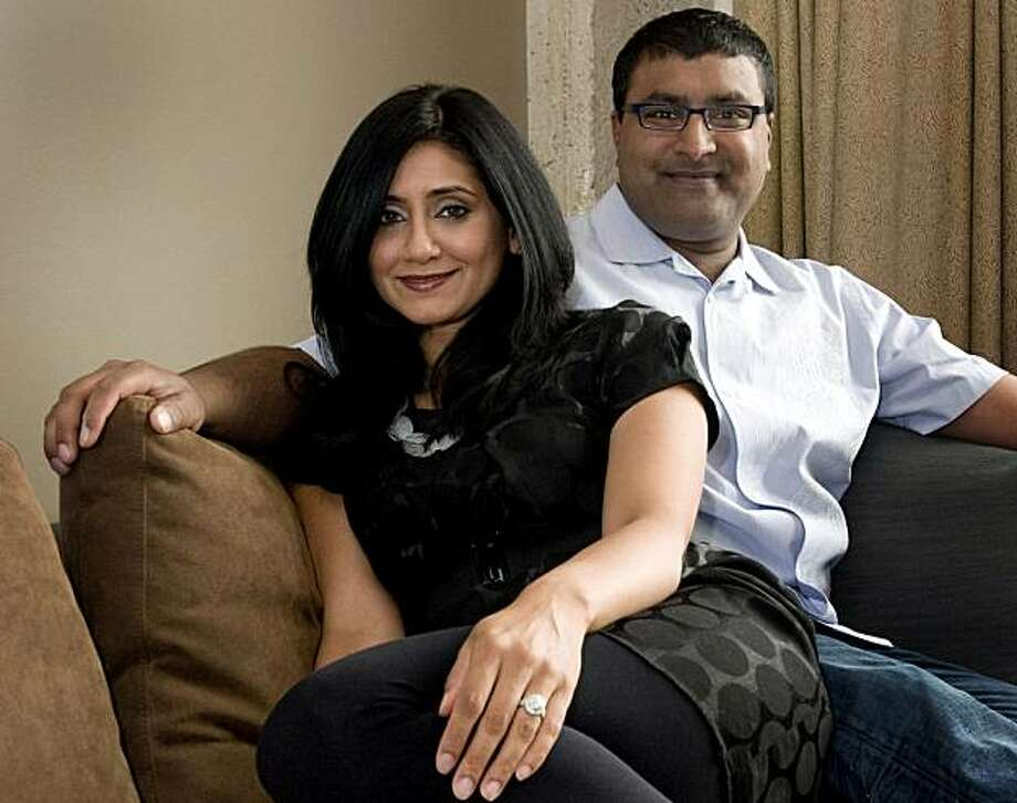 """Monty Agarwal and Fairuz Abdullah pose for the """"On the Couch"""" feature in their San Francisco, Calif., home on Tuesday, July 6, 2010. Photo: Chad Ziemendorf, The Chronicle"""