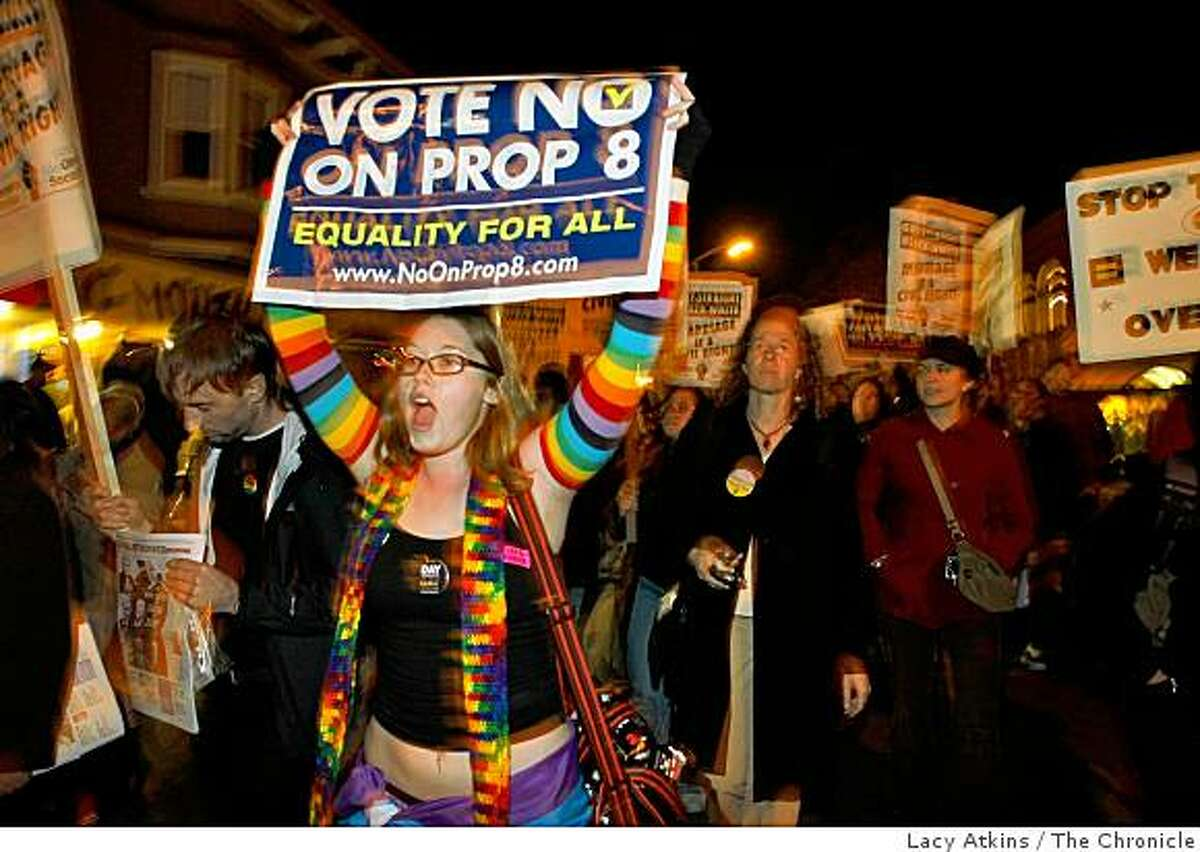 Kira Crawford of Fremont, one of the hundred that march down Valencia Street as a part of the