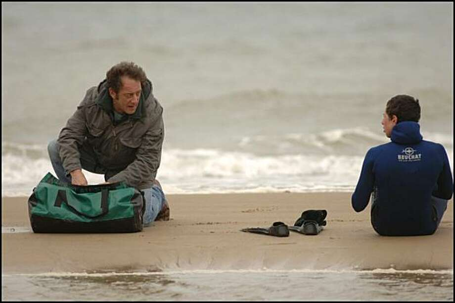 "Vincent Lindon (left) and Firat Ayverdi in ""Welcome."" Photo: Film Movement"