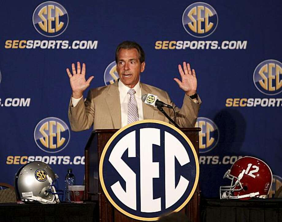 Alabama coach Nick Saban talks to the media during the Southeastern Conference Media Days on Wednesday, July 21, 2010, in Hoover, Ala. Photo: Butch Dill, AP