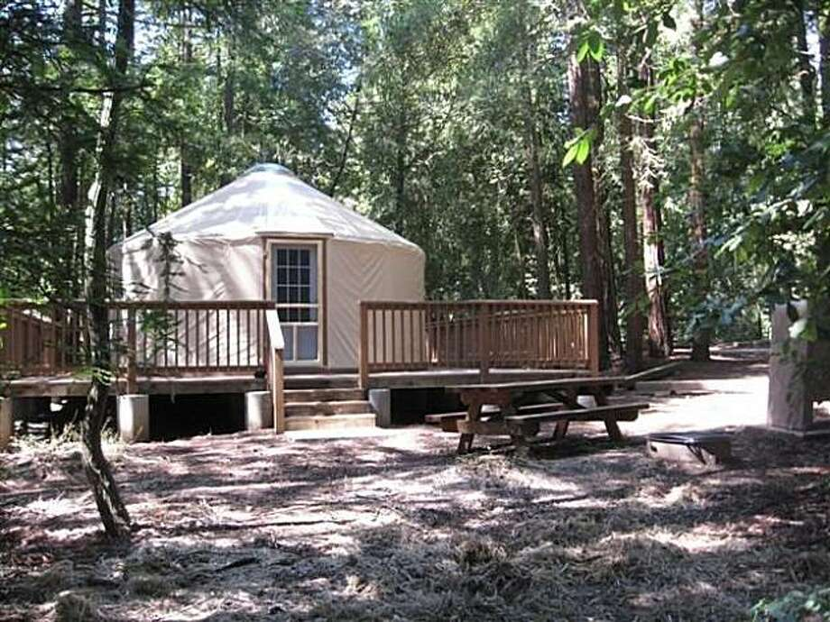 The big yurts at Mount Madonna County Park near Gilroy sleep 10 people for $90 per night. Photo: Courtesy Santa Clara County Prks