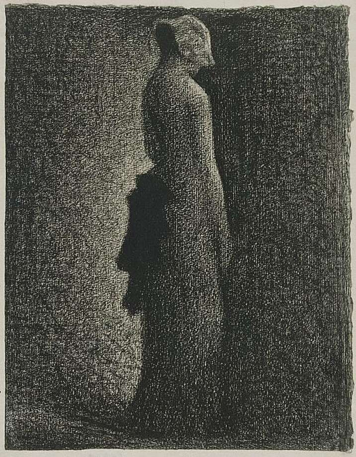 """The Black Bow"" (c. 1882) conte crayon on paper by Georges Seurat Photo: Gerard Biotacrylic, RMN/Musee D'Orsay, Paris"