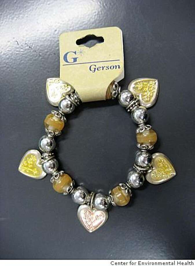 This bracelet from Longs was found to contain illegal levels of lead by the Center for Environmental Health. Photo: Center For Environmental Health
