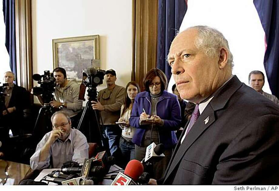 Illinois Lt. Gov. Pat Quinn speaks to reporters in his office at the Illinois State Capitol in Springfield, Ill., Thursday, Dec. 11, 2008. With Illinois Gov. Rod Blagojevich defying calls for his resignation, state officials pondered reducing his power and perhaps forcing him from office rather than accept a governor who faces federal corruption charges. Photo: Seth Perlman, AP