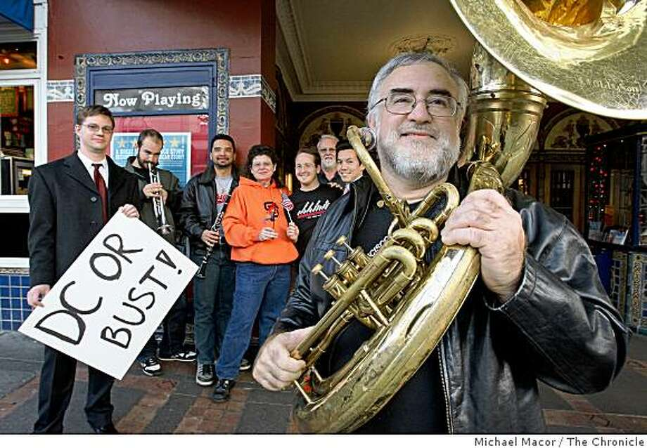 Artistic Director, Rice Majors, Greg Doolittle, Jesse Tudela, Lisa Canjura-Clayton, Ian Harwood, Loren McGlade, Nguyen Pham and Mike Mehr, all members of San Francisco's Freedom Band, gathered in the Castro in San Francisco, Calif. on Dec. 11, 2008. The band  will be the first openly gay marching band to participate in a presidential inaugural parade. Photo: Michael Macor, The Chronicle