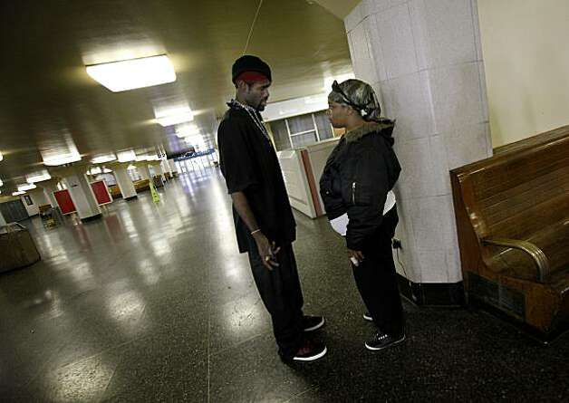 Biggs Johnson (left) and his girlfriend Shay often use the terminal for the bathroom and to rest and must now find another place to live. San Francisco, Calif. city health and homeless-aid counselors are trying to help and relocate dozens of homeless people who live in the Transbay Terminal and the immediate area.  The terminal will be shut down August 7, 2010 and will be demolished for a new transit hub. Photo: Brant Ward, The Chronicle